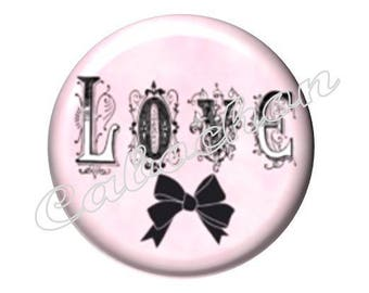 1 cabochon 30mm glass, Love, pink tone