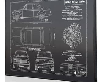 Bmw blueprint etsy bmw 2002 turbo laser engraved wall art poster blueprint sign artwork to make the best malvernweather Images