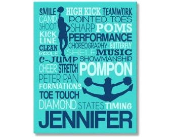Pompon Typography Poster Print, Pom Squad Art, Pompon Gift for Cheer Team, Cheer Team Art, Pom Team Gift, Pompon Team Art, Stunt Team Canvas