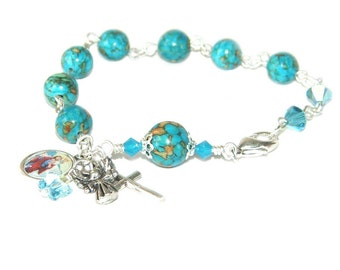 Christian Rosary Bracelet with Saint Christopher Medal, Farewell Gift Bon Voyage