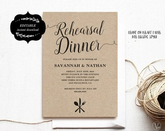 Printable Rehearsal Dinner Invitation Card Template, Kraft Rehearsal Dinner Card, Instant DOWNLOAD - EDITABLE Text - 5x7, RD002, VW02