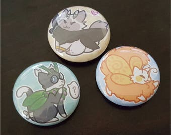 Mothcats Mascots Button (SET of 3)