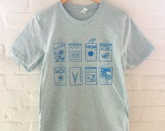 Flowers Shirt, Garden Tee, Gardening Gift, Screen Printed T Shirt, Soft Style Tee