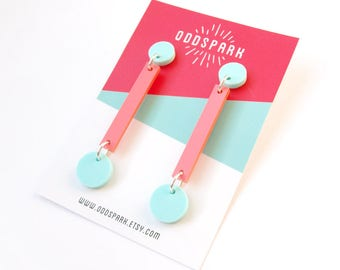 Pendulum Earrings in Mint and Pink Pastel Acrylic