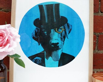 Hand screen printed 'Show Dog' (A3) art print