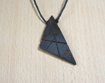 Sliver of Bowl, wooden pendant, triangular and black