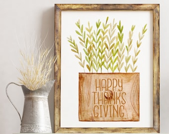 Happy Thanksgiving Printable / Happy Thanksgiving Printable Card / 8x10 Printable Wall Art / Thanksgiving Print / Greenery Print / 5x7