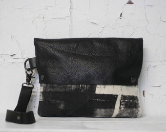 074 Black Leather Wristlet Clutch Bag , Pouch , Purse / Industrial Printed, Fashion Accessories