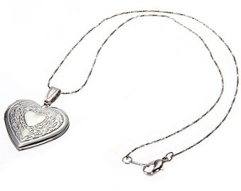 Stainless Steel Silver Colored Heart I Love You Locket Necklace