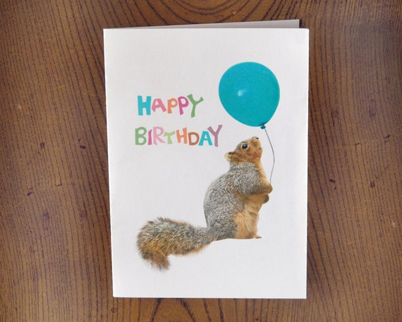 Fat squirrel with balloon printable birthday card m4hsunfo