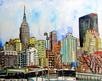 New York City, The New Yorker, Watercolor