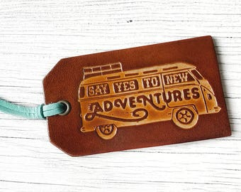 Road Trip Gift Leather Luggage Tag, Say Yes to New Adventures Van, Graduation Gift, Vintage Van Bus Luggage Tag Travel Gift
