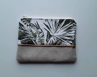 Foliage print clutch / small storage