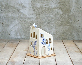 blue and white house with two birds /small house candle holder/handmade ceramic house/original home decor