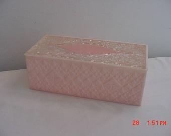 Vintage Pink Lucite Tissue Holder  18 - 204