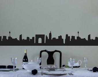 City Skyline Vinyl Wall Decal Border for Interior Design