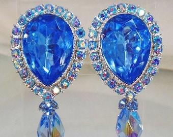 BIG SALE Vintage Showstopper Large Light Blue Topaz  Rhinestone Earrings.  Blue Topaz Rhinestone Earrings with Austrian Crystal  Dangle.