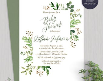 Greenery Baby Shower Invitation Greenery Watercolor Baby Shower Invite Gender Neutral Baby Shower Watercolor Baby Shower Invitation - 2016