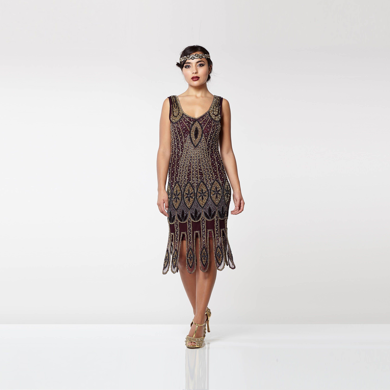 US8 UK12 AUS12 EU40 Molly lila Pflaume Flapper Kleid der