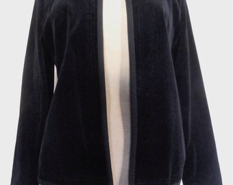 Vintage 70s black jacket blazer velvet hippie boho size S/M