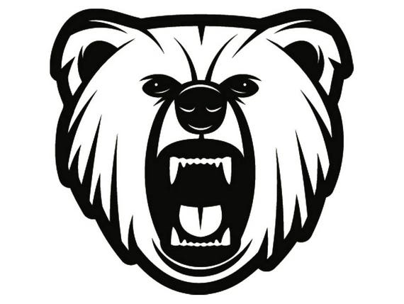 grizzly bear 5 head face wildlife wild animal growling mascot rh etsy com  bear cub mascot clipart