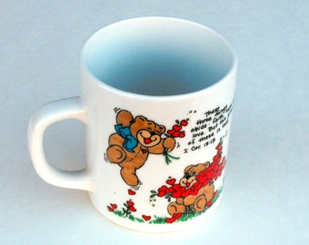 1983 Teddy Bears Heart Mug Vintage Red Hearts Anniversary Valentines Day Care Bear Earthy Endeavors Coffee Christian Bible Verse Pastor Gift