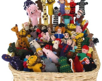 lot of 30 Handknitted Finger Puppets Peru NEW
