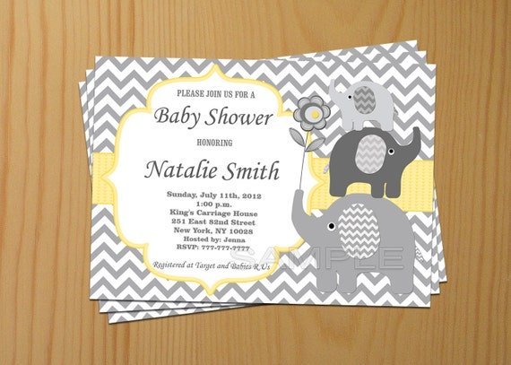 Boy baby shower invitation boy elephant baby shower boy baby shower invitation boy elephant baby shower invitations printable yellow gray free thank you card 87 instant download filmwisefo Choice Image