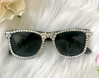Bling sunglasses- sparkly custom sunglasses - crystal sunglasses- summer gift - bridesmaids gift - beach glasses- black bedazzled sunglasses