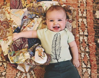 Boho Baby Feather Onsie in Mint