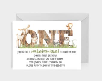 5x7 Woodland animal Birthday Invitations, printable or pack of 25 cards, PARTYTWO First Birthday stationary, Woodland theme party, squirrel