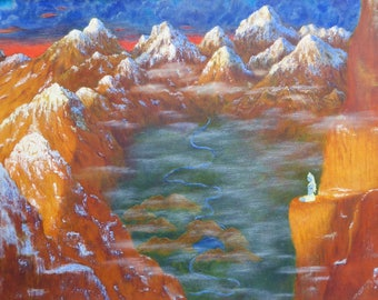 Shiva's Mountains - Lord Shiva sitting on a cliff overlooking a Himalayan valley