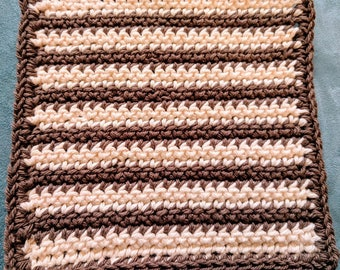 Brown and Beige Striped 100% Cotton Washcloth or Dishcloth
