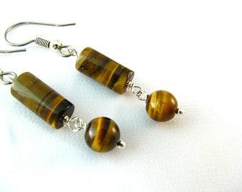 Tigereye Dangle earrings 1 3/4 inches long
