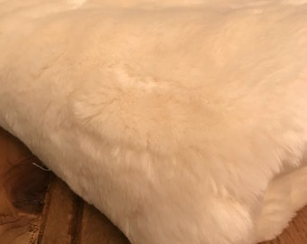White Faux Fur Fabric Remnant