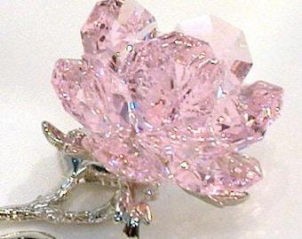 Pink Crystal Rose Handcrafted Using Swarovski Crystal - Pink Rose - Pink Crystal Flower
