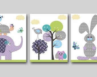 Canvas Art Children Decor Kids Wall Art Elephant Nursery Print Owl Decor Baby Room Decor Baby Nursery Decor set of 3 Hare Purple Green /
