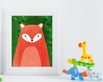 Fox, Woodland Animals, Woodland Critters, Nursery, Animal Wall Art, Kids Room, Animals, Print