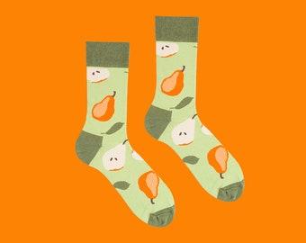 Pyrus Socks, Pear Socks, Fruit Socks, Sweet Socks, Men's Socks, Women's Socks