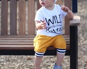 Baby shorts - mustard shorts - toddler shorts- harem shorts - yellow shorts - shorties