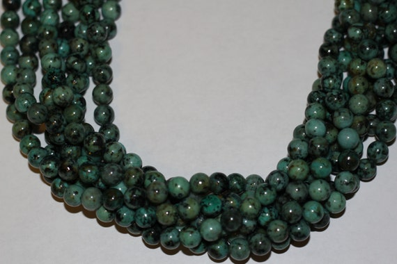 """African Turquoise 8mm smooth round beads 16"""" length strand"""