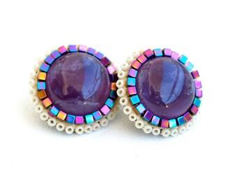 Amethyst Mandala Boho Earrings-Statement Earrings - Stud Earrings-Posts-Purple  Earrings-Unique-Boho
