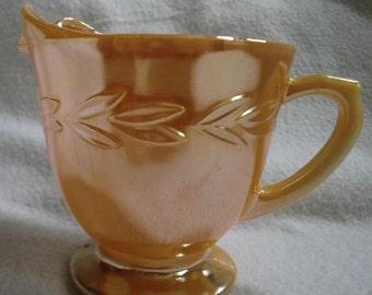 Vintage Fire King Luster Creamer Peach Lustre Ware Anchor Hocking Laurel Leaf