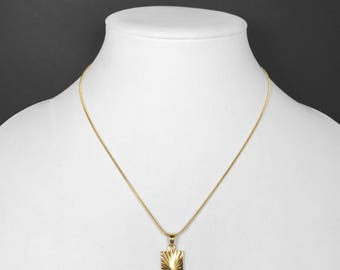 Gold square pendant etsy 18k gold filled medallion pendant necklace square rectangle with snake chain aloadofball Images