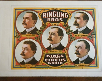 RINGLING Kings of the Circus World A Circus Vintage Circus Poster -  Poster Size Vintage Book Plate