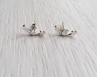 Sterling Silver Trio of Hearts Stud Earrings