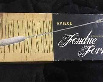 vintage 6 piece fondue fork set in original box vgc