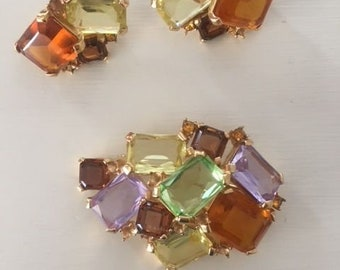 Vintage Rhinestone Earring and Pin Set - 1950's