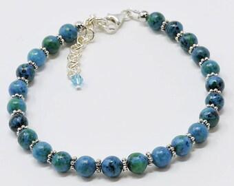 Australian Jasper Stone Bracelet in Shades of the Sea