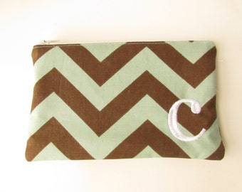 Monogram Make up Bag - C pouch - Ready to Ship - Bridesmaid Makeup bag - Cosmetic bag - Make up Clutch - Monogrammed Gift - Medium